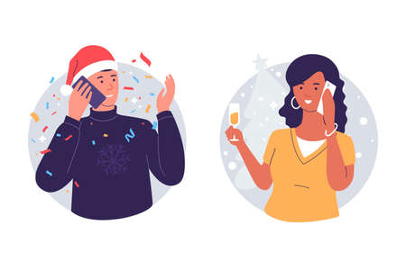 Man and woman congratulate each other by phone merry christmas and happy new year. People talking on the telephone during the holiday. Illustration of phone call. Isolated on wite. Ilustração