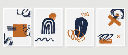 Set of abstract posters in minimalist style with primitive hand painted shapes. Trendy artistic composition for wall decoration, cover, t-shirt print, postcard, web banner. Vector illustration.