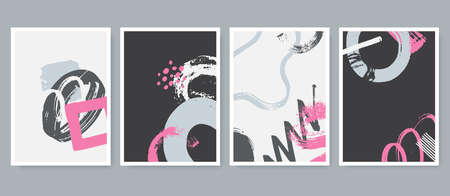 Set of abstract contemporary compositions in artistic hand painted style. Trendy posters collection with grunge elements. Use for cover, wall decor, t-shirt print, postcard, etc. Vector illustration.