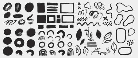 Collection of vector grunge elements, brush strokes, paint spots, lines and abstract shapes. Black ink stains isolated on white. Minimalistic design elements in hand painted style.