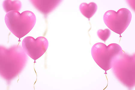 3d realistic pink heart balloons with defocused effect isolated on white background. Decoration element for Valentines day or Wedding. Symbol of love. Vector illustration. Ilustração