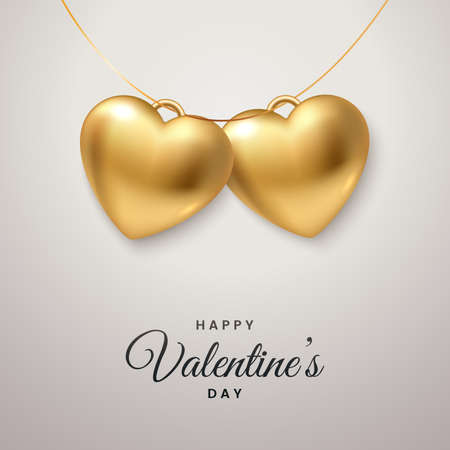 Happy Valentines Day greeting card design. Hanging pendant in the form of two golden hearts. Symbol of love. Realistic 3d style. Applicable for postcard, promo, invitation. Vector illustration.