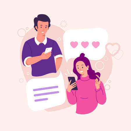 Online dating vector illustration. Lovers a guy and a girl correspond in a chat. Couple in love. Male and female chatting. Congratulations with Valentines day. Flat style.