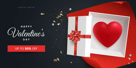 Valentines day greeting card design concept. Open gift box with red heart inside and sparkling golden confetti. Flat lay. Valentines day sale banner template. Realistic 3d style. Vector illustration. Ilustração