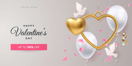 Valentines day creative banner design. Composition with hanging golden hearts, two paper doves, helium balloons and falling roses petals. Greeting card for 14 february or wedding. Vector illustration