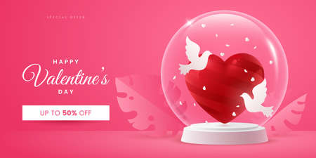 Valentines day creative banner concept in pink colours. Composition with red heart and two doves in a glass ball. Symbol of love. Realistic 3d style. Ideal for invitation, postcard, greeting card.