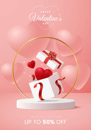 Valentines day greeting card design concept. Open gift box with red heart inside and sparkling golden confetti on pink background. Valentines day sale banner template. A4 size. Vector illustration.