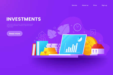 Investments vector illustration. Assets and savings. Precious metals, stocks, real estate, intellectual property. Workplace of financial trader.