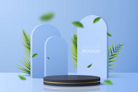 Blue vector background with round black podium for product display. Abstract 3d scene with geometric forms, palm branches and falling leaves. Ideal for showing natural cosmetics packaging.