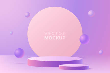 Abstract background in pastel colors with podium for product presentation. 3d scene in minimal style with two round pedestal. Ideal for advertisement, package showing, web banner. Ilustração