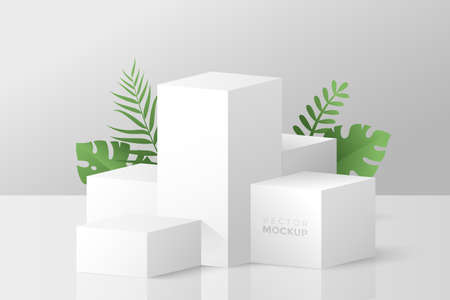 3D scene with white cube boxes and green tropical leaves behind. Blank stage podium for product presentation. Geometric composition with 3d cubes. Vector mockup for your design. Ilustração