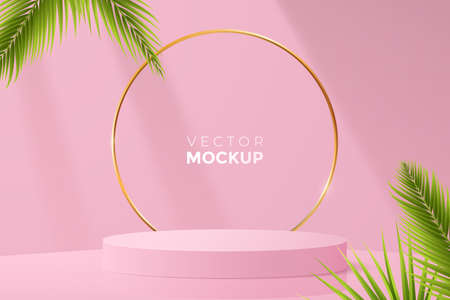3d round podium mockup in pink color. Empty light scene with blank podium, golden frame and green tropical leaves around. Ideal for cosmetic, packaging and other product presentation.