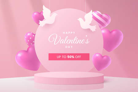Valentines day greeting card design in 3d style. Scene with pink round podium, hearts and decorative white doves. Holiday banner in romantic style. Vector illustration.