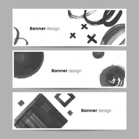 Abstract black and white banner collection in artistic style. Black paint stains and shapes on white backdrop. Creative hand painted flyer design. Horizontal web header concept. Vector illustration.