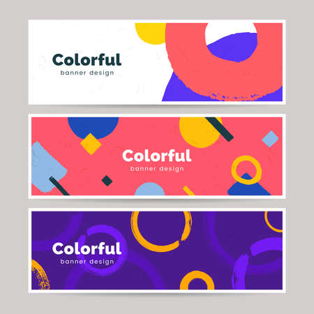 Abstract colorful banner set in hand painted style. Horizontal header with geometric shapes, brush strokes. Art background collection. Ilustração