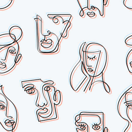 Seamless pattern with abstract linear faces and glitch effect. Surreal faces of men and women.