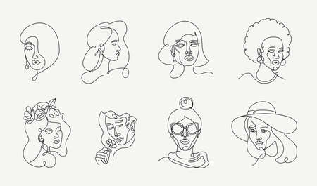 Illustration of womens faces in line art style. Female one line portraits collection. linear Beautiful girls with different hairstyles and accessories.