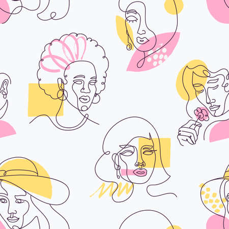 Seamless pattern with linear women faces and color accents. Beautiful female portraits in line art style.  Vector illustration 矢量图像