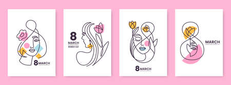 Womens Day greeting card collection in line art style. Linear silhouettes of beautiful women with flowers and decorative elements isolated on white. Ideal for postcard, promo, beauty salon. Ilustração