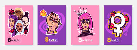 International Womens Day greeting card collection in funny cartoon style. 8 March posters design with comical illustrations of womens and symbols of feminism. Ideal for print, postcard, social media.