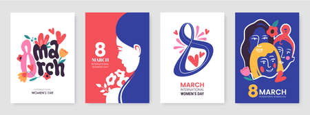 International Womens Day greeting card collection in different styles. 8 March posters design with lettering, womens, flowers and decorative elements. Ideal for print, postcard, social media, promo. Ilustração