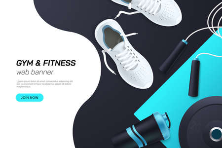 Web page concept for gym and fitness club. Flat lay composition with white sports sneakers, barbell plates, protein shaker, skipping rope. Healthy lifestyle. Realistic 3d style. Vector illustration Ilustração