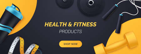 Sports and fitness products banner design. Flat lay composition with dumbbells, barbell plates, shaker, skipping rope, measuring tape. Advertisement concept for sports store. Vector illustration. 矢量图像