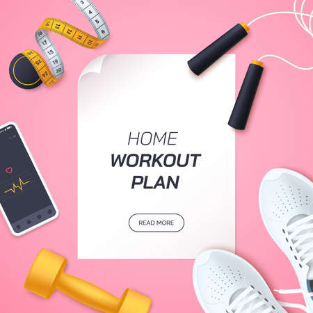 Home workout plan vector illustration. Flat lay composition with white sports sneakers, dumbbells,skipping rope and measuring tape. Fitness and training at home. Healthy lifestyle. Realistic 3d style.