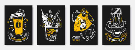 Coffee to go illustration collection in hand drawn style. Coffee take away creative posters design. White, black and yellow colours. Ideal for print, wall decoration, cafe, flyer, menu, promo.