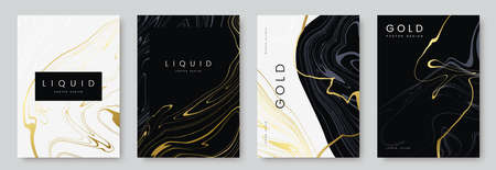 luxury poster design. Collection of liquid gold marble texture on black and white background. Set of premium banners, a4 size. Ideal for flyer, wedding invitation, cover, business card. Ilustração