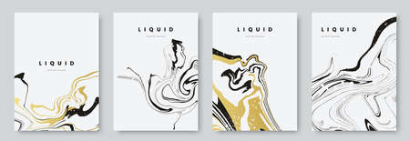 Abstract poster design with curves lines. Collection of gold and black liquid marble texture on white background. A4 size. Ideal for banner, flyer, invitation, cover, business card.