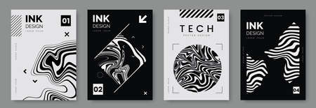 Black and white poster design with liquid and curve lines, abstract geometric shapes and place for text. Futuristic cover set. A4 size. Ideal for banner, flyer, invitation, business card.