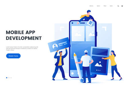 Mobile application development vector illustration. Group of people create a mobile app for smartphone. Team build a user interface design on the phone screen. Flat style.