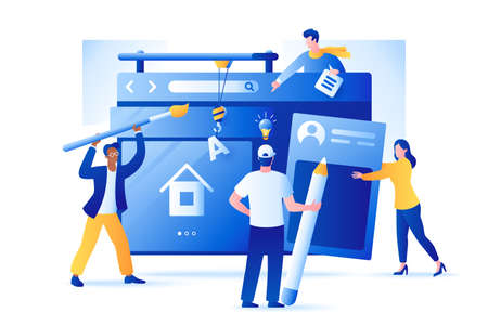 Web Development vector illustration. Group of people create a website. Characters build web page interface design. Flat style. Isolated on white. Ilustração