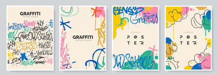 Abstract graffiti poster with colorful tags, paint splashes, scribbles and throw up pieces. Street art background collection. Artistic covers set in hand drawn graffiti style. Vector illustration 矢量图像