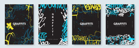 Abstract graffiti poster with colorful tags, paint splashes, scribbles and throw up pieces. Street art background collection. Artistic covers set in hand drawn graffiti style. Vector illustration Ilustração