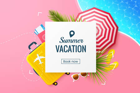 Summer vacation vector illustration. Flat lay composition with beach umbrella, travel suitcase, sunglasses, slates. Rest at the resort. Summertime travel banner template. Online booking.