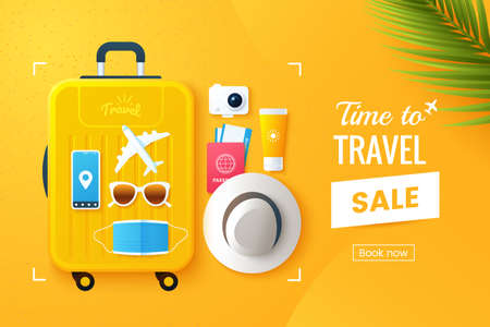 Summer travel vector illustration. Flat lay composition with a large travel suitcase, hat, sunglasses, protective face mask, camera, plane tickets. Online booking. Vacation promo banner design. Ilustração