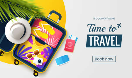 Time to travel. Summer vacation flat lay vector illustration. Open suitcase with stuff, protective face mask and accessories. Preparation for seasonal vacations. Traveling promo banner design.