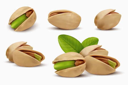 Realistic pistachios in 3d style. Roasted pistachios in shell isolated on white background. Natural organic food. Design element for nuts packaging, advertising, etc. Vector illustration. Ilustração