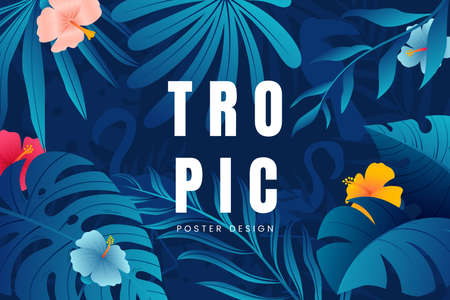 Asbtact floral background with tropical leaves, plants, flowers and place for text. Jungle foliage backdrop. Summer banner design. Vector illustration. Ilustração