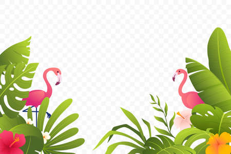 Tropical decoration with green leaves, plants, foliage, flowers and flamingo. Summer decor. Beautiful tropical border. Jungle frame. Isolated on transparent background. Vector illustration.