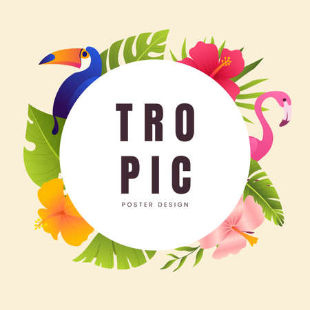 Summer banner with tropical leaves, plants, flowers and exotc birds. Vintage floral tropical round frame. Promo badge for your seasonal design. Vector illustration.