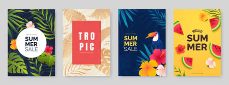 Summer poster collection. Poster designs with tropical leaves, plants and flowers. Season sale banners set. Ideal for party flyer, promo, invitation, print. Vector illustration. Ilustração