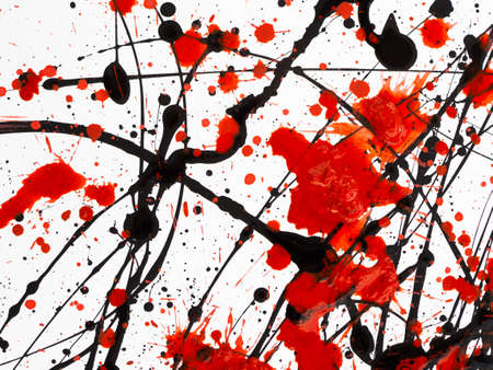 Red and black Paint Drips on White background. 版權商用圖片