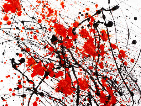 Dripping black and red line paint isolated on white background. Flowing fuel oil splashes, drops and trail.