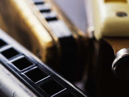 musical instruments vintage harmonics diatonic and chromatic. Stock Photo