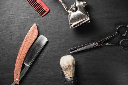 vintage barber tools dangerous razor hairdressing scissors old manual clipper comb shaving brush. Imagens