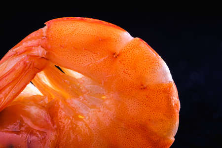 macro photo of a tender and juicy cooked prawn. Horizontal. 스톡 콘텐츠