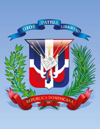 Vector Coat of arms of the Dominican Republic on the blue background